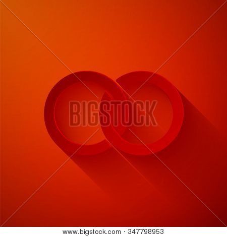 Paper Cut Wedding Rings Icon Isolated On Red Background. Bride And Groom Jewelery Sign. Marriage Ico