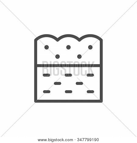 Soil Line Outline Icon And Ground Concept Isolated On White. Layer, Structure Of Ground. Dirt, Humus