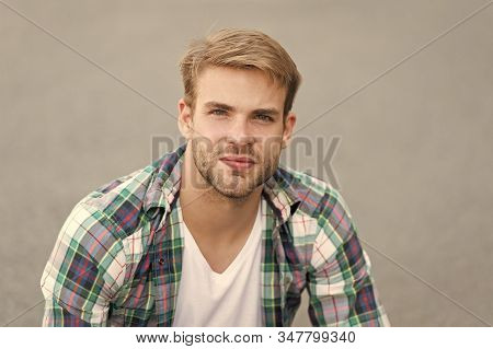 Young And Full Of Ideas. Carefree Student. Man Regular Student Appearance Relaxing Urban Space. Coll