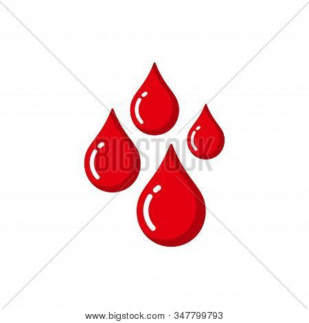Red Blood Drop Vector Icon. Blood Drop Illustration In Flat Design Style