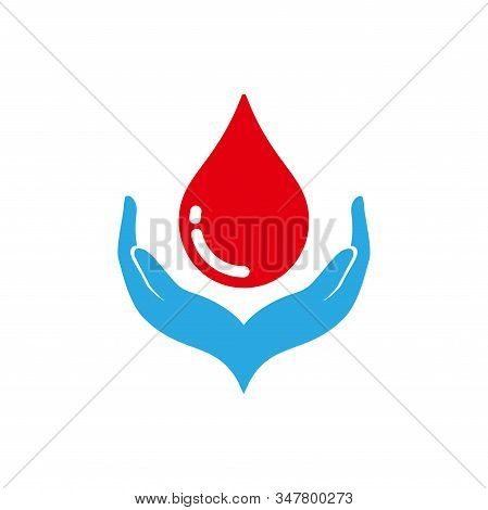 Red Blood Drop In Hand Isolated On White Background. Blood Donor Volunteer Vector Design