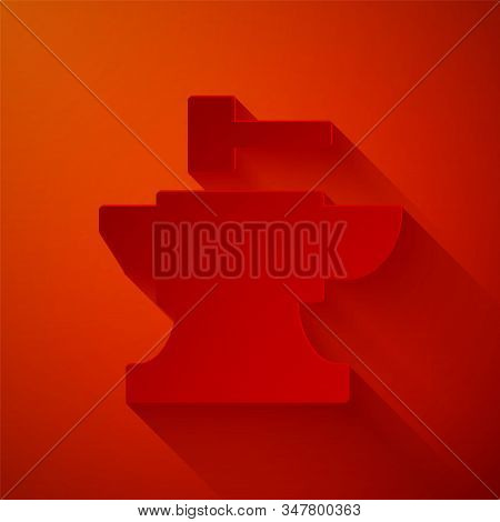 Paper Cut Anvil For Blacksmithing And Hammer Icon Isolated On Red Background. Metal Forging. Forge T