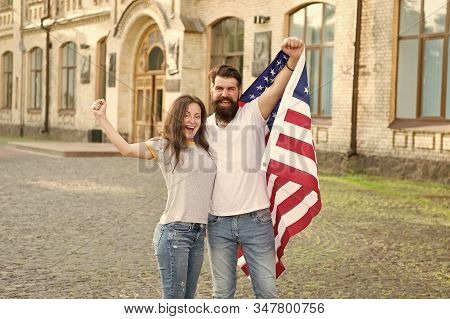 Rights And Freedoms Are Core To Our Citizenship. Happy Couple Gaining Usa Citizenship. Us Citizens H