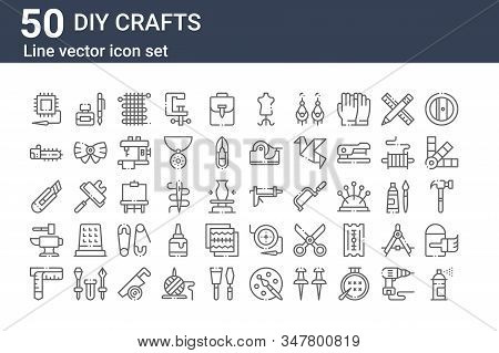 Set Of 50 Diy Crafts Icons. Outline Thin Line Icons Such As Spray Paint, Measuring Tape, Anvil, Cutt