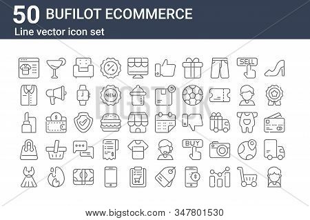Set Of 50 Bufilot Ecommerce Icons. Outline Thin Line Icons Such As Costumer, Dress, Shopping Bag, Li