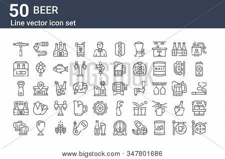 Set Of 50 Beer Icons. Outline Thin Line Icons Such As Bar, Beer, Beer, Bottle Opener,