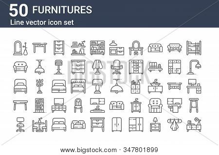 Set Of 50 Furnitures Icons. Outline Thin Line Icons Such As Chest Of Drawers, Desk Chair, Dinning Ta