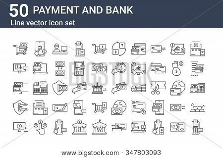 Set Of 50 Payment And Bank Icons. Outline Thin Line Icons Such As Edc, Online Payment, Secure Paymen