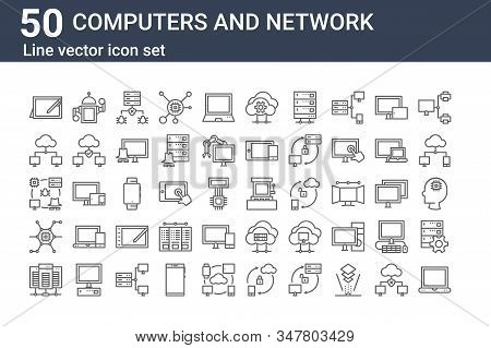 Set Of 50 Computers And Network Icons. Outline Thin Line Icons Such As Laptop, Server, Nano Technolo