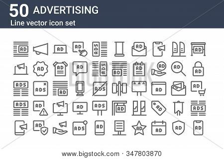Set Of 50 Advertising Icons. Outline Thin Line Icons Such As Ads, Broadcast, Ads, Ads, Advertising,
