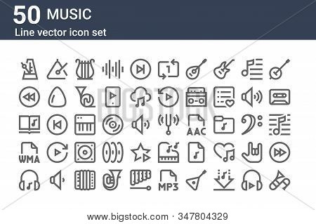 Set Of 50 Music Icons. Outline Thin Line Icons Such As Trombone, Music, Wma, Notes, Rewind, Triangle