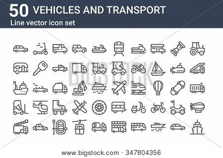 Set Of 50 Vehicles And Transport Icons. Outline Thin Line Icons Such As Cruise, Fire Truck, Forklift