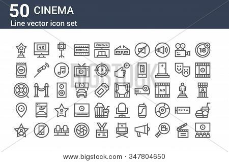 Set Of 50 Cinema Icons. Outline Thin Line Icons Such As Movie, Hollywood Star, Cinema, Film Reel, Cr