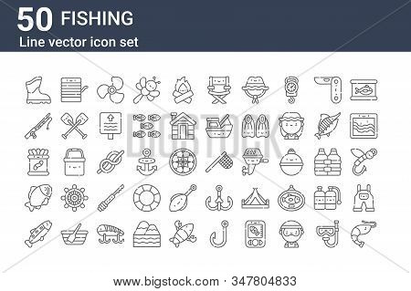 Set Of 50 Fishing Icons. Outline Thin Line Icons Such As Shrimp, Trout, Carp, Worms, Fishing Rod, Fi