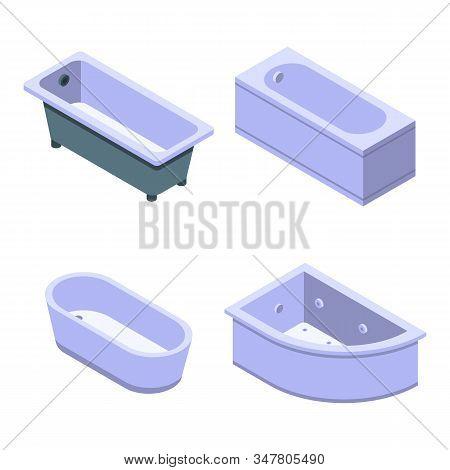 Bathtub Icons Set. Isometric Set Of Bathtub Vector Icons For Web Design Isolated On White Background