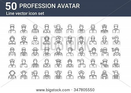 Set Of 50 Profession Avatar Icons. Outline Thin Line Icons Such As Businessman, Astronaut, Policeman
