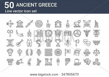 Set Of 50 Ancient Greece Icons. Outline Thin Line Icons Such As Pattern, Amphora, Amphora, Papyrus,