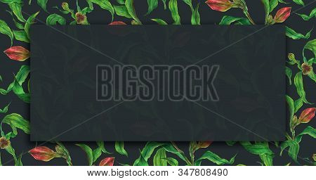 Floral Dark Watercolor Banner With Alstroemeria Branches With Red Buds