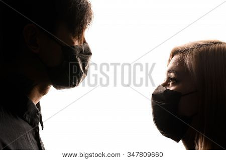 Chinese Infection Corona Virus Masked Girl And Asian Man On The White Background, The Concept Of The