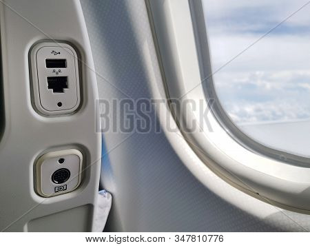 Usb And Lan Port, Socket Or Outlet At Back Of The Seat On Airplane Flight Service For Passengers. Cl