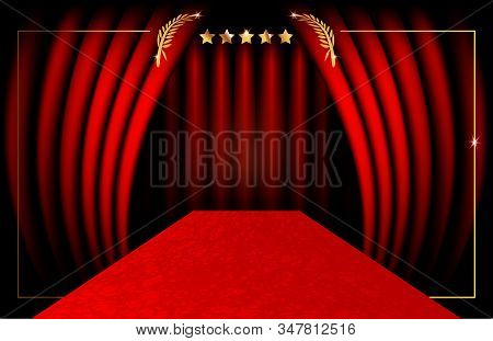 Hollywood luxury and elegant red carpet event in perspective illustration. Red color carpet for celebrity, Success and stars prestige event vector concept for entrance vip