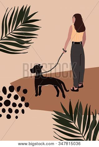 Abstract Modern Woman In Fashion Trendy Clothes Walking On Street With Dog. Trendy Art Minimal Backg