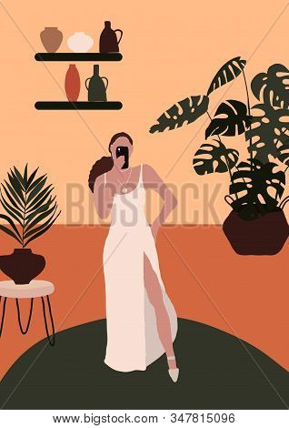 Abstract Modern Woman In Fashion Trendy Dress Clothes Taking Selfie In Room With Monstera Pot. Trend