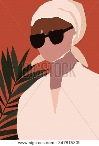 Abstract Modern Young Woman With Headscarf In Sunglasses Portrait Silhouette. Fashion Minimal Trendy