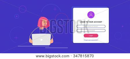 Login Form And Information Security To Social Media And Personal Accounts. Flat Teenage Woman Using