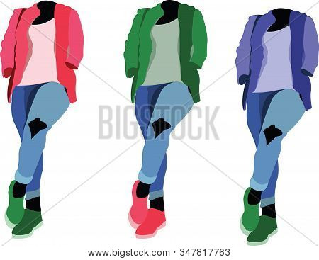 Different Color Mannequins Dressed Young Trendy Different Color Mannequins Dressed Young Trendy