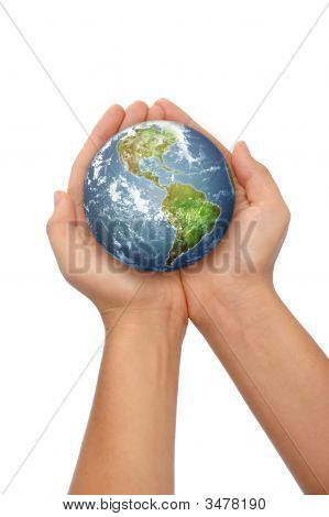 Hands holding the world on a white background poster
