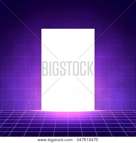 Vaporwave Background With Laser Grid, White Glow Door And Smoky Colored Fog. Abstract Night Club Int