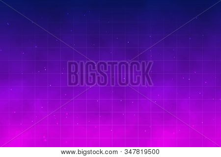 Retro Futuristic Background With Fog. Night Sky With Stars And Clouds, Galaxy, Light Glow Effect. Te