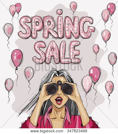 Spring Sale Elegant Glossy Flying Balloons Lettering. Surprised Woman With Binoculars With Open Mout