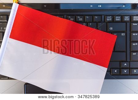 Flag Of Indonesia On Computer, Laptop Keyboard