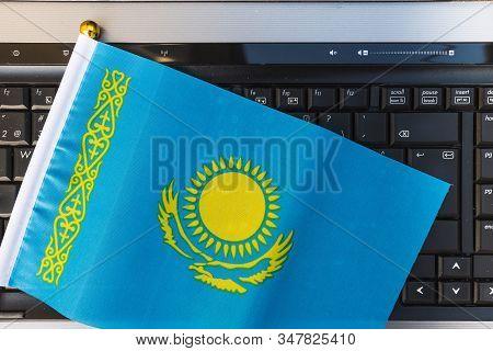 Flag Of Kazakhstan On Computer, Laptop Keyboard