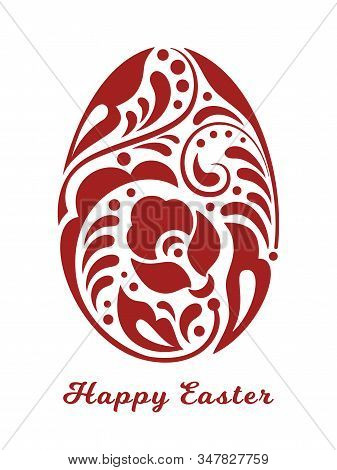 Vector Easter Egg In Traditional Russian Folk Style In Red Color With Sign Happy Easter. Template Fo