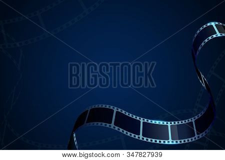 Film Reel Stripe Cinema Isolated On Blue Background. Modern 3d Realistic Film Strip. Vector Cinema F