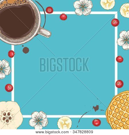 Menu Or Greeting Card Template With Coffee, Waffle, White Flowers, Quince And Cranberry On Blue Back