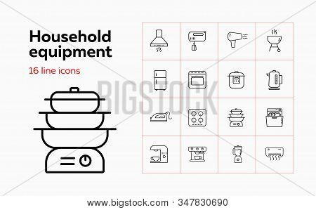 Household Equipment Line Icon Set. Set Of Line Icons On White Background. Household Concept. Iron, M