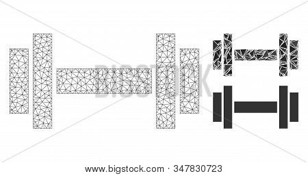 Mesh Barbell Model With Triangle Mosaic Icon. Wire Carcass Polygonal Mesh Of Barbell. Vector Composi