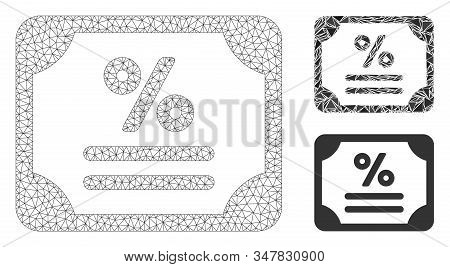 Mesh Bond Model With Triangle Mosaic Icon. Wire Carcass Triangular Mesh Of Bond. Vector Mosaic Of Tr