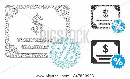 Mesh Bond Coupon Model With Triangle Mosaic Icon. Wire Frame Triangular Mesh Of Bond Coupon. Vector