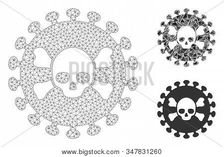 Mesh Deadly Virus Model With Triangle Mosaic Icon. Wire Carcass Polygonal Mesh Of Deadly Virus. Vect