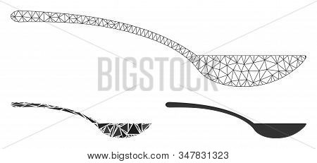 Mesh Empty Spoon Model With Triangle Mosaic Icon. Wire Carcass Triangular Mesh Of Empty Spoon. Vecto