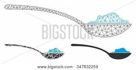 Mesh Powder Spoon Model With Triangle Mosaic Icon. Wire Frame Polygonal Mesh Of Powder Spoon. Vector