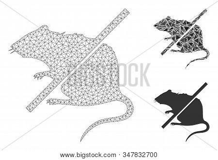 Mesh Stop Rats Model With Triangle Mosaic Icon. Wire Frame Triangular Mesh Of Stop Rats. Vector Comp