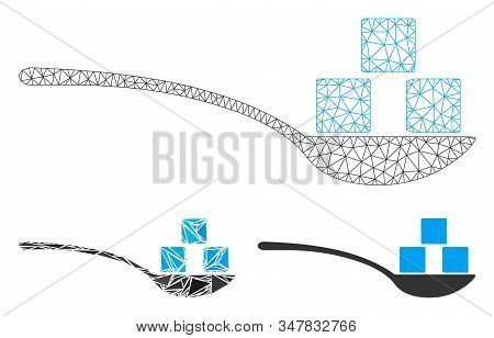 Mesh Sugar Spoon Model With Triangle Mosaic Icon. Wire Frame Polygonal Mesh Of Sugar Spoon. Vector M