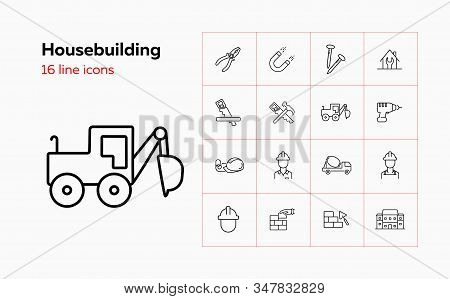 Housebuilding Line Icon Set. Foreman, Brickwork, Hammer, House. Construction Concept. Can Be Used Fo
