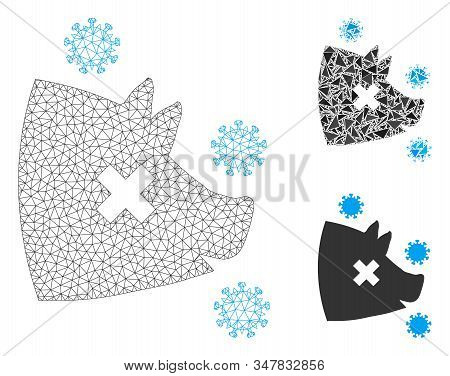 Mesh Swine Flu Model With Triangle Mosaic Icon. Wire Frame Triangular Mesh Of Swine Flu. Vector Mosa